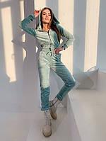 Женский стильный велюровый костюм с укороченным топом, фото 1