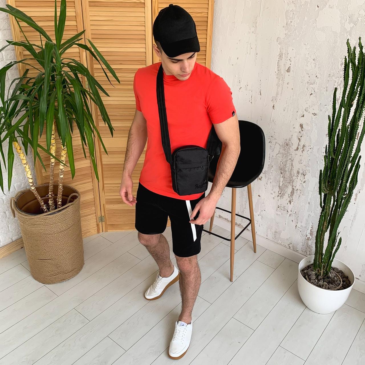 Чоловічий річний комплект, літній костюм футболка коралова Peremoga і шорти чорні Zorro