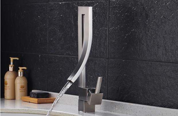 Змішувач дизайнерський для раковини, одноважільний кран горизонтальний монтаж WanFan для ванни Нікель