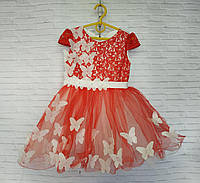 Детское нарядное платье для девочки Бабочка 3-4 года, красного цвета, фото 1