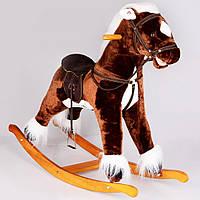 Лошадка-качалка коричневая с музыкой  80 см IS6