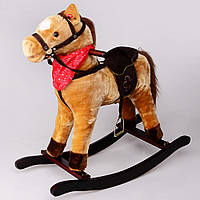 Лошадка-качалка светло-коричневая с музыкой  65 см IS4