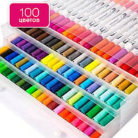 Акварельные маркеры на водной основе для рисования Brush Markers Pens FineLiner 100 цветов, Маркер кисть