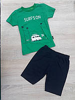 """Детский костюм футболка+шорты """"SURFS ON"""" для мальчика от 9 мес-3 лет,цвет уточняйте при заказе, фото 1"""