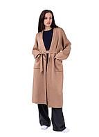 Стильный женский кардиган пальто с поясом и накладными карманами модного цвета