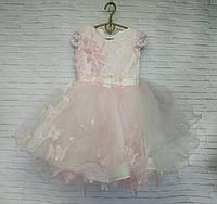 Детское нарядное платье для девочки Бабочка 3-4 года, розового цвета, фото 1