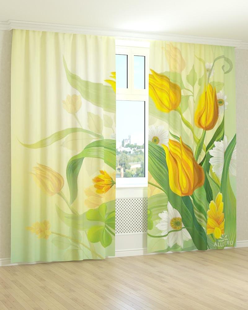 Фото штори малюнок жовтих тюльпанів