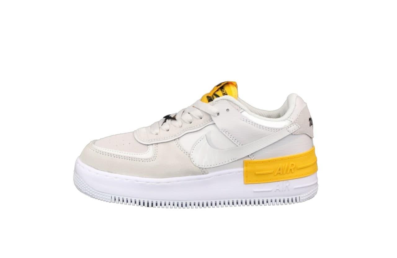 Женские кроссовки Nike Air Force Shadow (бежево-желтые) К12555 качественные модные кроссы