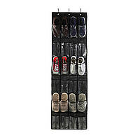Органайзер для взуття на двері Чорний 148*45 см 24 кишені, органайзер для тапочок | обувной органайзер