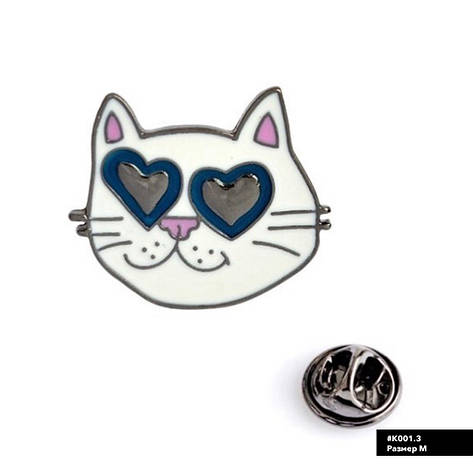 Значок металлический Пин Pin City-A Кот Любовь №920, фото 2