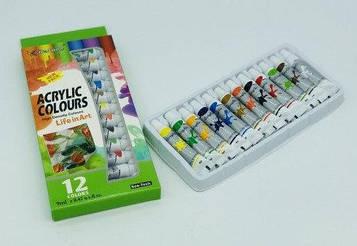 Набір художніх Акрилових фарб 12 кольорів по 9мл в тюбиках Bertand