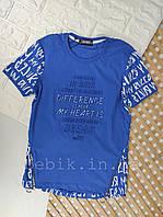Летняя футболка мальчику с газетным принтом рост 134-140
