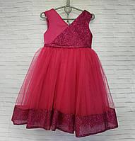 Детское нарядное платье для девочки Блеск 3-4 лет, малинового цвета, фото 1