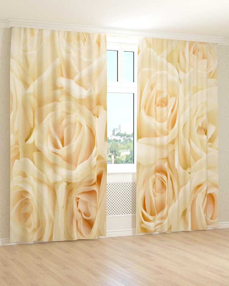 Фото штори кремові троянди