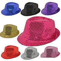 Шляпа Твист, шляпа диско с пайетками: золото, серебро, синий, зеленый и красный