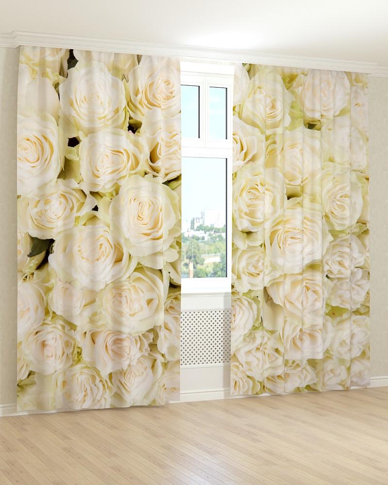 Фото шторы белые розы 3д