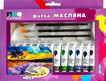 Набір Олійних художніх фарб 12 кольорів по 12мл в тюбиках + 4 кисті і палітру NeoLine