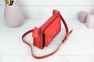 """Сумка жіноча, Шкіряна сумочка """"Куточок"""", Шкіра Італійський краст, колір Червоний, фото 2"""