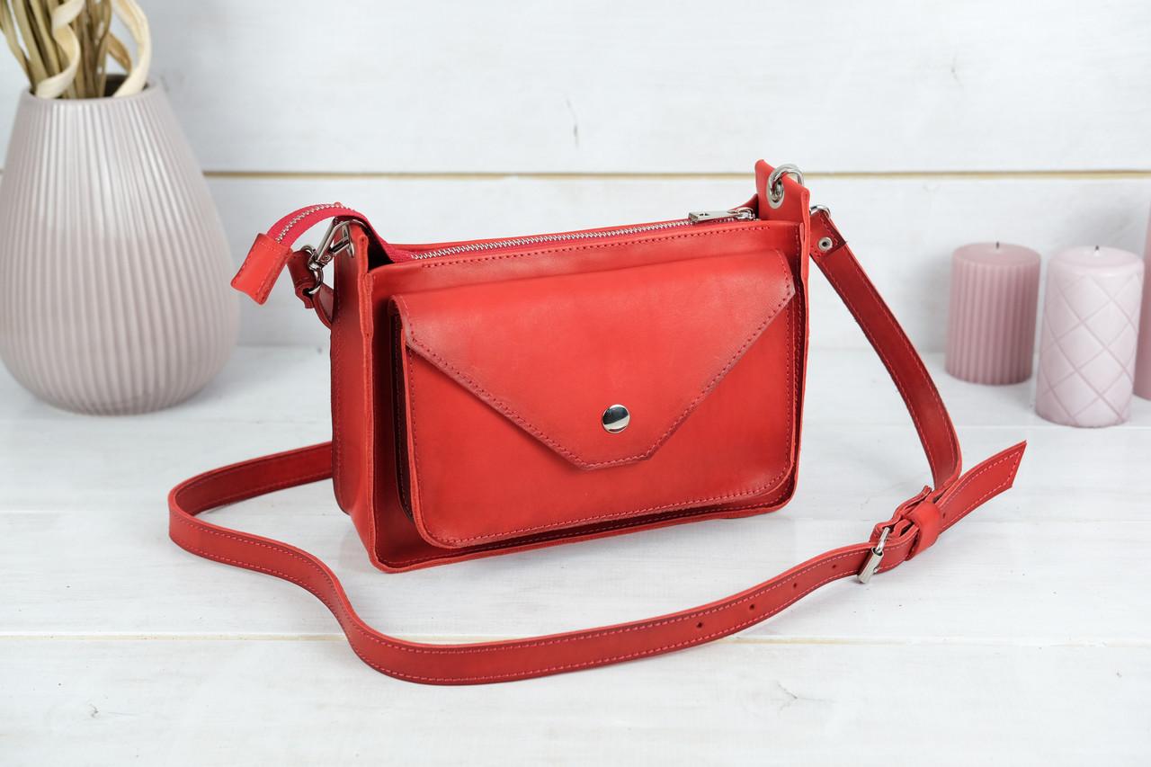 """Сумка жіноча, Шкіряна сумочка """"Куточок"""", Шкіра Італійський краст, колір Червоний"""