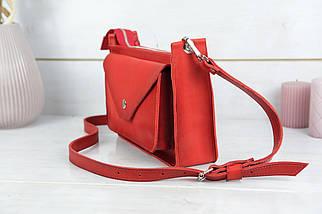 """Сумка жіноча, Шкіряна сумочка """"Куточок"""", Шкіра Італійський краст, колір Червоний, фото 3"""