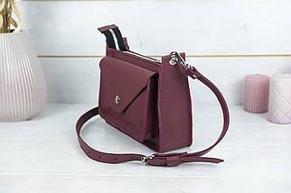 """Сумка жіноча, Шкіряна сумочка """"Куточок"""", шкіра Grand, колір Бордо, фото 3"""