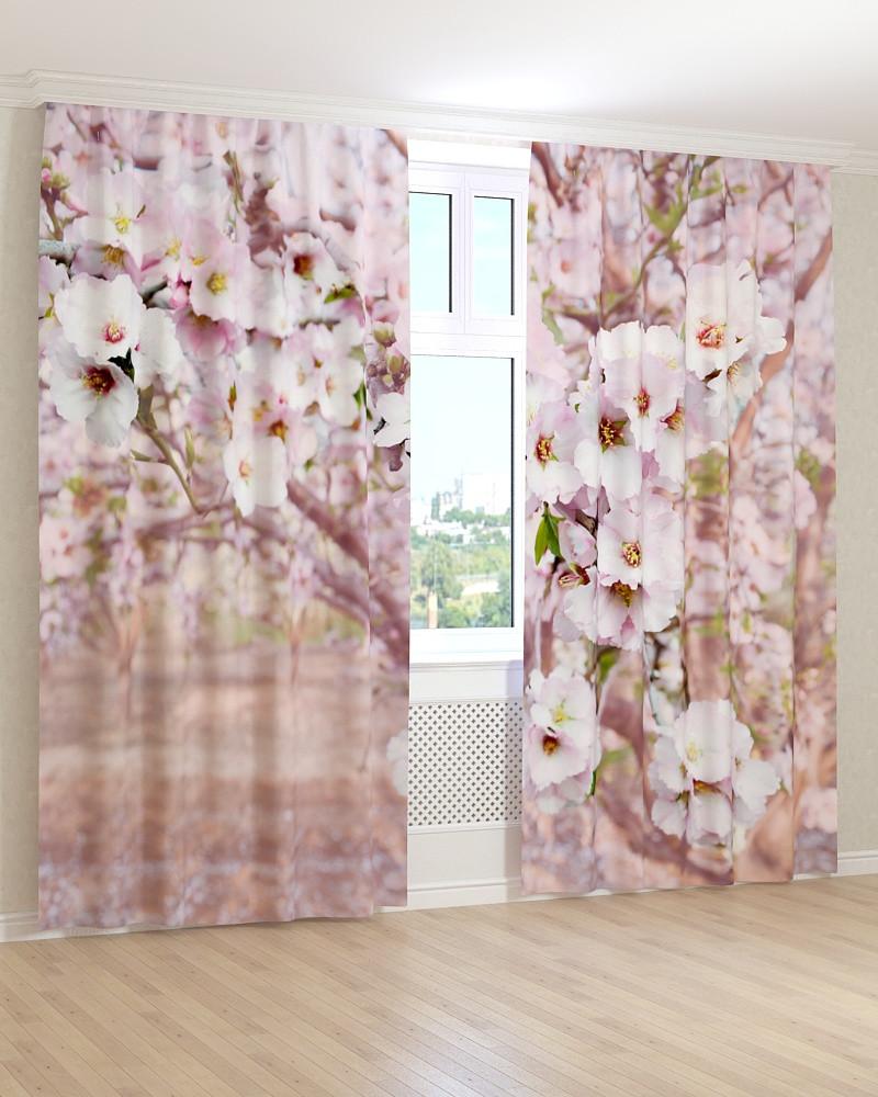 Фото шторы цветущее дерево 3D