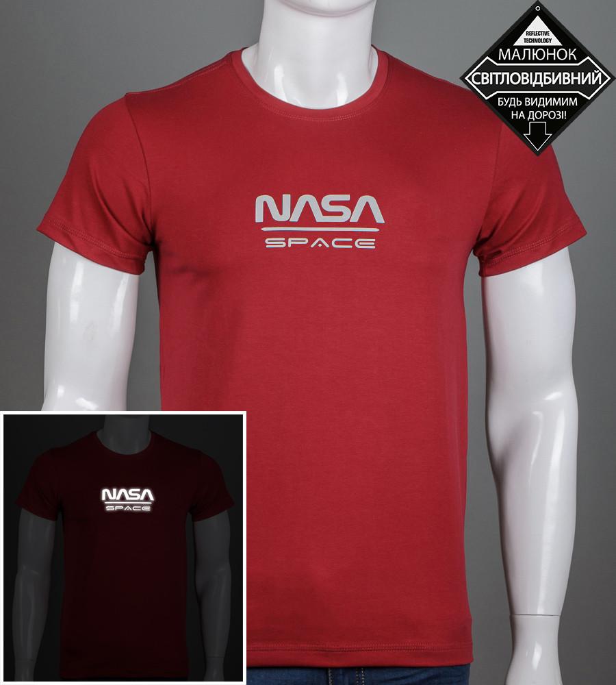 Футболка мужская NASA (2162м), Бордовый