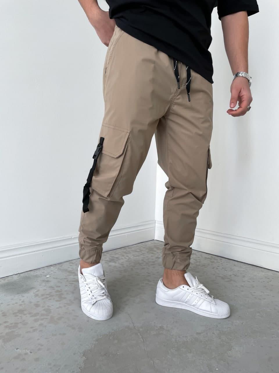Мужские спортивные штаны-карго бежевые