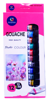 Набір художніх Гуашевих фарб 12 цв. по 12мл в тюбиках Dozen