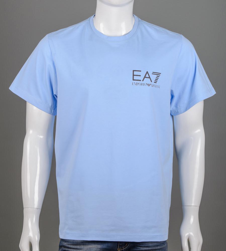 Футболка чоловіча батал EA7 Armani (2155б), Блакитний
