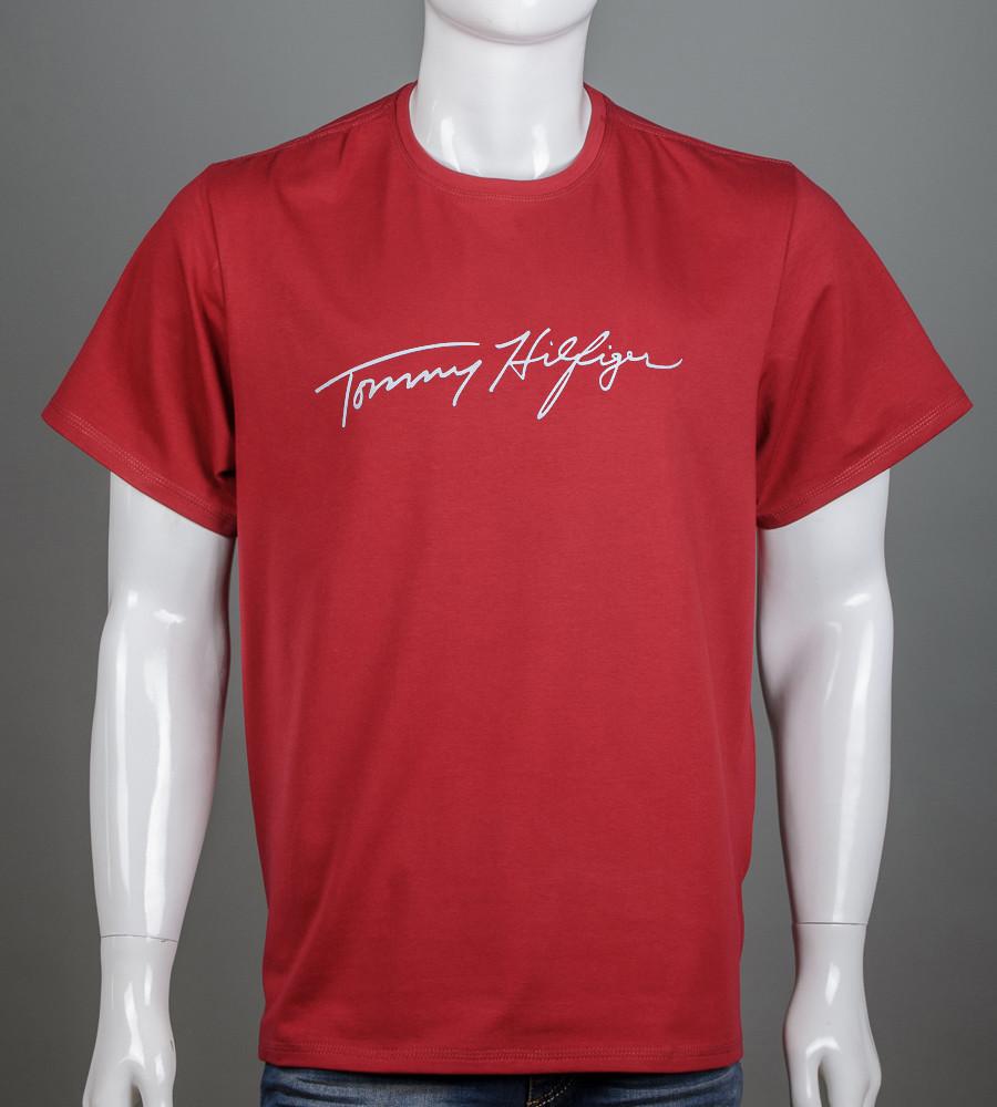 Футболка мужская батал Tommy Hilfiger (2156б), Бордовый