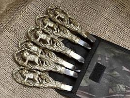 """Набор шампуров ручной работы с бронзовыми ручками """"Лев"""", в тканевом чехле"""