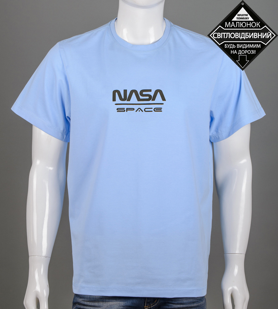 Футболка чоловіча батал NASA (2162б), Блакитний