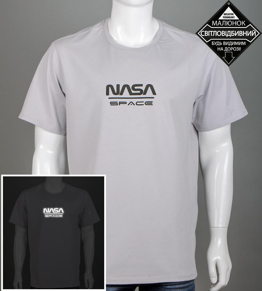 Футболка чоловіча батал NASA (2162б), Св.Сірий