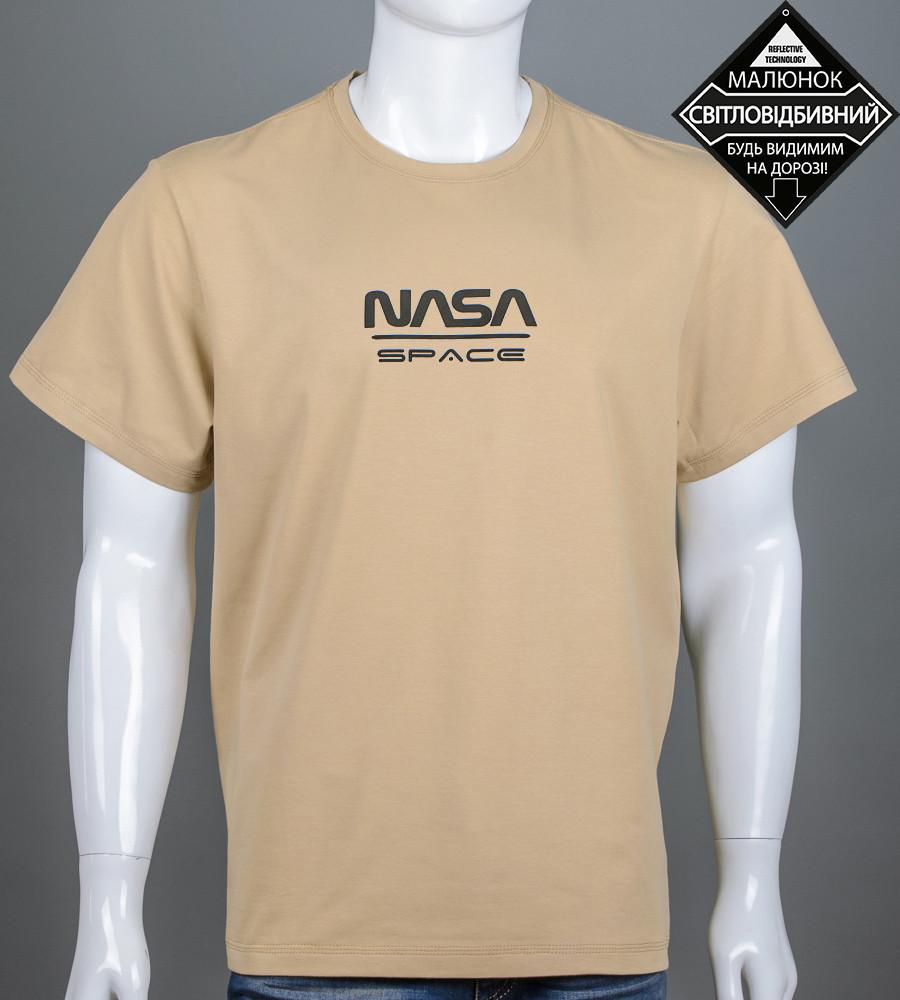 Футболка мужская батал NASA (2162б), Песочный
