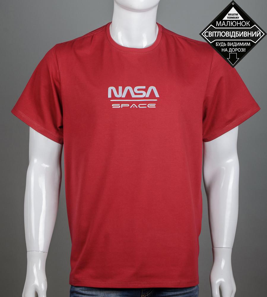 Футболка чоловіча батал NASA (2162б), Бордовий