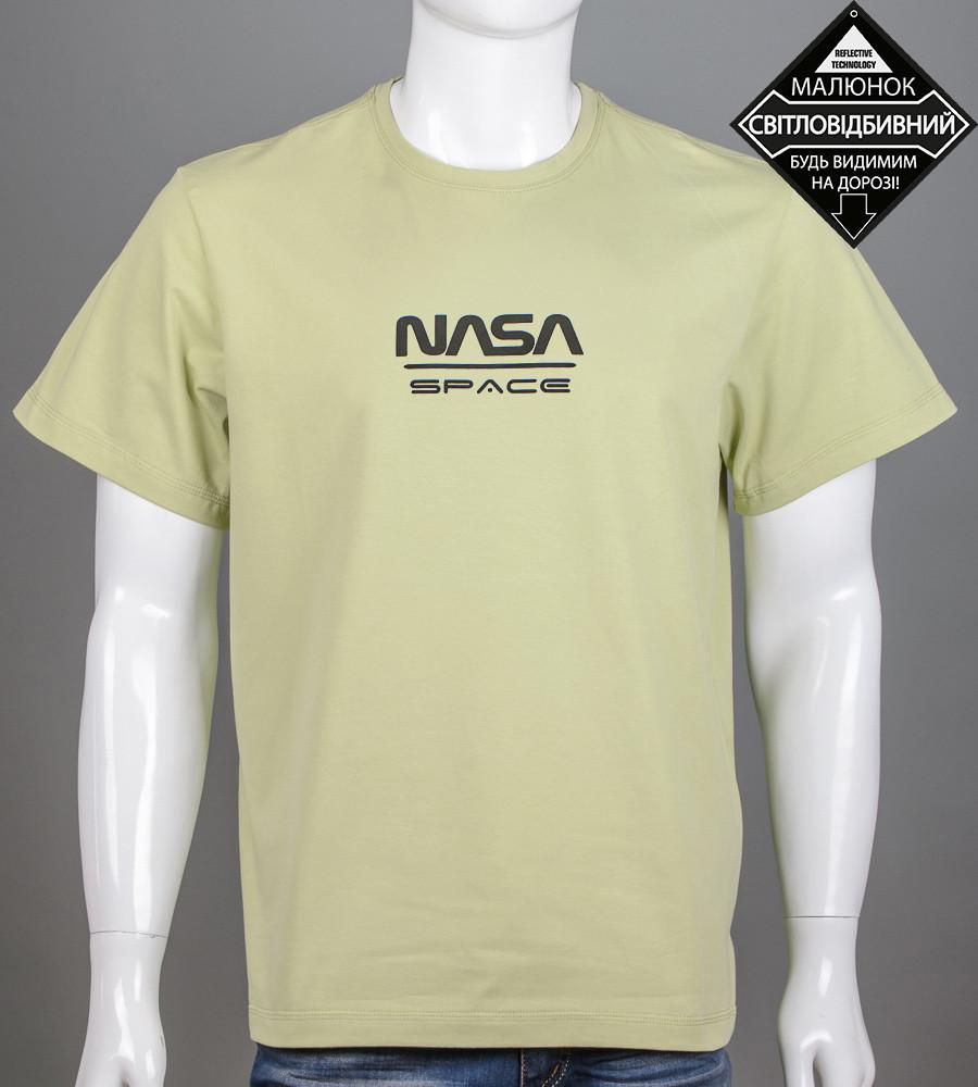 Футболка мужская батал NASA (2162б), Фисташковый