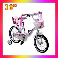 Детский двухколесный велосипед с корзинкой и креслом для куклы 16 дюймов для девочки 4-7 лет Бело-Фиолетовый