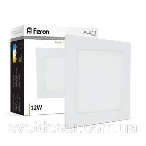 Светодиодный светильник Feron AL511 12W 4000К (LED панель) квадратный белый