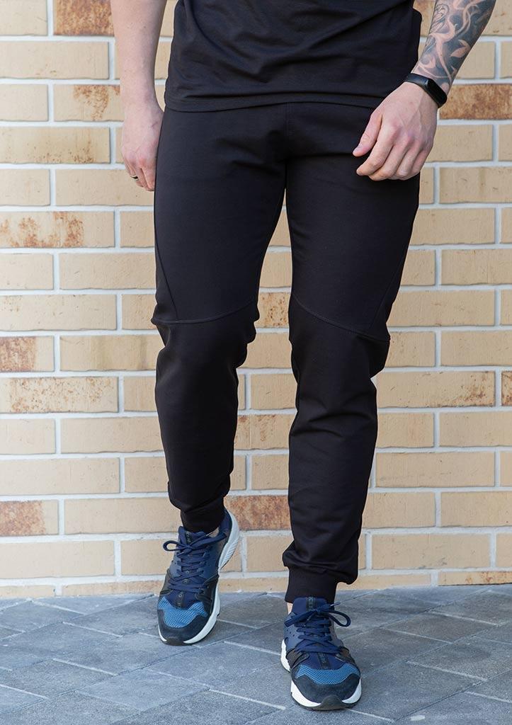 Мужские спортивные штаны из хлопка с карманами цвет черный демисезон, фото 2
