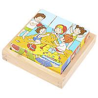 Набор развивающих деревянных кубиков в пенале IE146