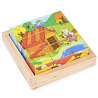 Набор развивающих деревянных кубиков в пенале (Ферма) IE145