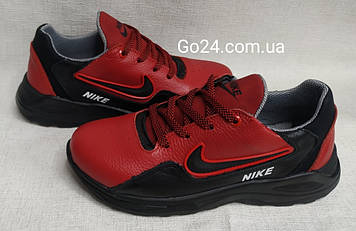 Кроссовки NIKE  черные с красным женские кожа