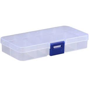 Коробка органайзер кейс для снастей бисера 125х63х22мм 10 ячеек прозрачный