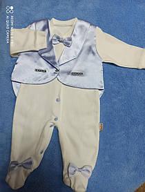 Человечек для новорожденных модный красивый нарядный оригинальный с атласной жилеткой для мальчика.