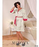 Красивое платье батал с полукруглым вырезом горловины и лентами под вырезом. с 50 по 68 размер