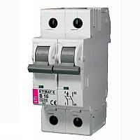 Автоматический выключатель ETIMAT 6  2p С 16А (6 kA), ETI, 2143516