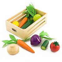 Деревянный игровой набор ящик с овощами IF110