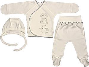 Костюм для новонароджених малюків ріст 56 0-2 міс на хлопчика дівчинку комплект дитячий трикотажний молочний