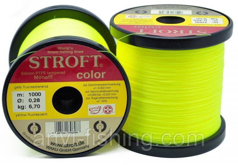 Коропова волосінь STROFT Color Fluo Yellow - 1000 м (Німеччина) Ø 0,35 мм - 10,3 кг